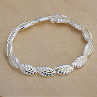 3pcs/PH058 /925 silver plated feather bracelet,fashion jewelry, link chain,wholesale,Nickle free antiallergic ,factory price