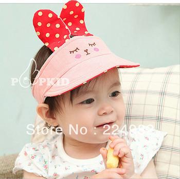 Free Shipping Summer Baby Sun Hat,Rabbit Kids Sunbonnet,Cotton Top Air Cap For Boys & Girls,Cartoon Children Visor Cap