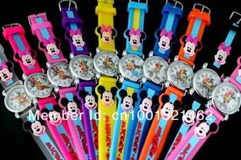 Free Shipping 20pcs/lot Mickey Mouse 3D Cartoon watch children jelly slap kids wristwatch Round Dial Quartz Movement