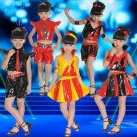 Children performance wear dance dress child costume male female child japanned leather set modern