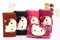 1pcs/lot Hello kitty Flip Leather Glowing Wallet Case Skin Pouch For iPhone 5 5G Cute Wholesale and Retail+Free Shipping