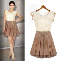 Lace Top Pleated mini dress chiffon casual career sarafan high street new in 2014 Spring Summer women/lady/girls dress FZ-005