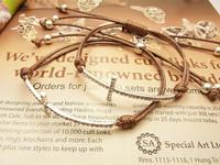 2014 new brown bracelet Imported 888 crystal girls sideways cross bracelet  Free shipping