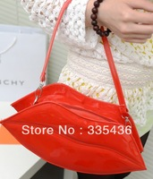 Korea style  female bag 2013 new contracted fashionable red lips bag PU leather handbags bag wholesale