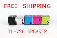 Mini Digital Speaker TD-V26 Portable Speaker USB Sound Box Support TF/SD card+FM Radio+U disk 300pcs Free shipping