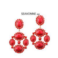 Freeshopping 2013 fashion earrings indian jewelry romantic Metal red crystal Earrings  E
