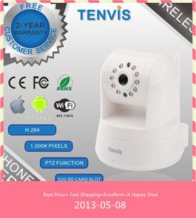TENVIS WIFI PTZ H.264 Megapixel Wireless HD IP Camera IPROBOT3 P2P 720P Web Camera Dropbox Storage, SD Card Storage