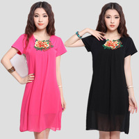 New arrival summer 2013 women's solid color plus size clothing national embroidery trend chiffon one-piece dress organza