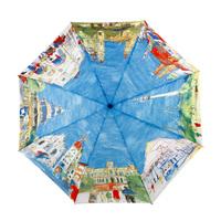 Fashion oil painting umbrella automatic umbrella three fold umbrella anti-uv key