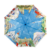 Fashion oil painting umbrella automatic umbrella three fold umbrella anti-uv key