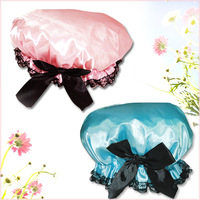 Free Shipping  Women Waterproof Elastic Band Lace Bowknot Hat Hair Bath Shower Bouffant Cap Spa MT-076