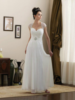 Beautiful Simple Sheer Straps A Line Wedding Dresses