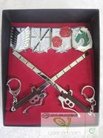 Anime Attack on Titan Shingeki no Kyojin Scouting Legion brooch Badges Sword Keychain