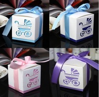 free shipping 100pcs Hot Sale Wedding favor Candy Box Laser-Cut Baby Carriage Favor Boxes without ribbon  Wedding Supplies