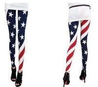 KD-024 women USA flag stripe space star printed leggings fashion elastic slim fitless leggiong pants