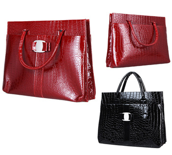 Luxury OL Lady Women Crocodile Pattern Hobo Handbag Tote Bag 2 Color Horizontal Version