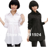 Free shipping 2013 woman Plus size clothing spring medium-long women's slim shirt 1pcs/lot black/white 0306