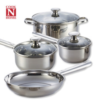free shipping Cook n home 7 piece set stainless steel glass lid set frying pan soup pot pots and pans combination
