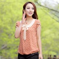 Women's Summer 2014 Chiffon Polka Dot Peter pan Collar Shirts short-sleeve female Casual Blouses With Bow