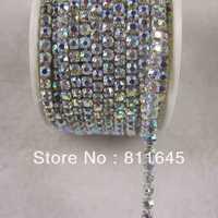 Wholesale Rhinestone cup chain ss16,Densify claw, Crystal AB rhinestone Silver base 10yard/roll fast delivery Free shipping