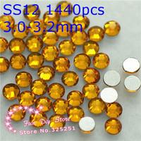 free shipping topaz non hotfix rhinestones SS12(3.0--3.2mm) 1440pcs/lot