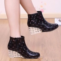 Spring and summer fashion short overstrung women's flat boots wedges water shoes thermal plus velvet slip-resistant