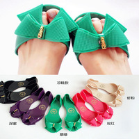 13 bow jelly sandals flat open toe sandals female boots