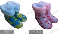 Child rain boots children rainboots thermal cotton rain boots winter waterproof shoes male female child crystal belt