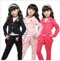 2014 new Children's wear girl's small suit  edition in the spring and autumn cuhk children's long sleeve + long pants suit