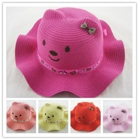 tz069-1 wholesale hat 7pcs 5color Han edition cute cartoon animal hat/baby straw hat /children's summer shading hat