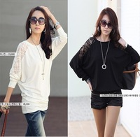 2014 spring and summer new arrival batwing sleeve modal cotton lace patchwork batwing long-sleeve shirt t-shirt