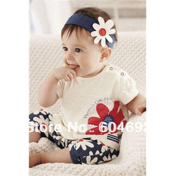 Free Shipping Kids T-shirt Flower Headband+Top+Pants Shorts Outfit 3 pcs Baby Costume Set 0-3Y DropShipping XL041