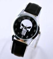 Marvel Super Hero The Punisher Leather Band Skull Black Fashion Watch Wrist Free Shipping