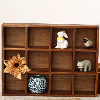 New Arrival Zakka storage cabinet solid wood storage box 12 cabinet vintage  for 1 pcs