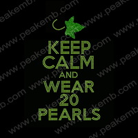 Free Shipping 50pcs/Lot New Design Beauty Keep Calm And Wear 20 Pearls Iron On Rhinestone Embellishment Heat Transfers