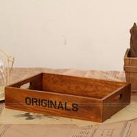 Desktop storage box for cosmetics finishing box wool pile vintage wood pallet zakka