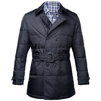 Free shipping Quality Wholesale winter clothing white duck down cold medium-long slim waist male high quality down coat