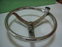 "Stainless Steel Boat steering wheel 3 spoke 13-1/2"" dia. for Teleflex cable helm"