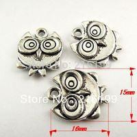 Whosesale Antique Style Silver Cute Owl Bird Jewelry Charm Pendants Craft Decor 35pcs 30576