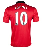 top thailand quality official player version 2013/14 season #10 ROONEY home red soccer jersey, football shirt