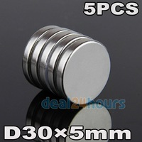 Free Shipping! 5 x Cylinder Super Strong Magnet 30mm x 5mm Rare Earth Neodymium Craft Model N35