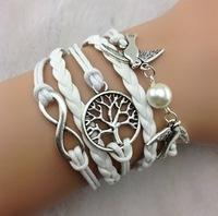 3pcs Bracelet--Infinity , Couple bird & Wish Tree Charm Bracelet--Silver Bracelet--Wax Cords and Imitation b42 Min order 10$!