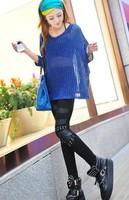 Faux Women's PU Leather Patchwork Leggings Fashion Knee Rivet Fitless Legging Lady's Elastic Pencil Pants KD-390