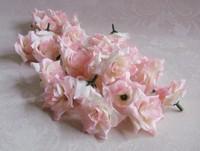 50PCS 4cm Water Pink DIY Brooch Headwear Artificial Silk Simulation Rose Flower Head Wedding Christmas Party  6 Colors FREE SHIP
