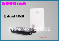 1pcs/lot High Quality 2 Dual USB 5000mAh power bank moblie phone backup powers External Battery pack 5000mAh Free shipping
