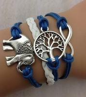 3pcs silver infinity bracelet, Wishing trees bracelets, elephants bracelet, leather rope bracelet, the best gift, 848