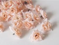 50PCS 4cm Champagne DIY Brooch Headwear Artificial Silk Simulation Rose Flower Head Wedding Christmas Party  6 Colors FREE SHIP