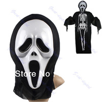B39Free Shipping Crazy Scared Ghost Scream Face Mask For Costume Party Dress Halloween Carnival