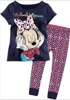 New Summer Newest baby kids cartoon mickey mouse pajamas sets children sleepwear printed short sleeve blouses+pants age 2-7years