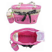 Free Shipping - Lovely Dog Cat Luggage Pink Pet Travel Bag With Small Pouch,   Pet Carrier,